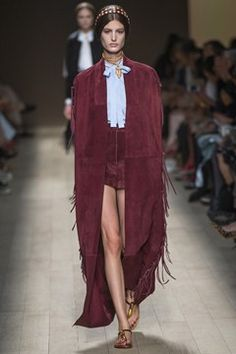 Valentino Wine suede shorts & long cape with fringe. #ss14
