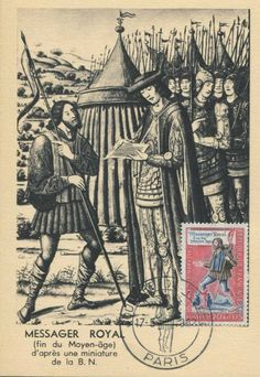 Timbre 1962 : JOURNÉE DU TIMBRE 1962 Messager Royal Fin du Moyen Age | WikiTimbres