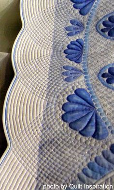 """Close up, """"Blue Ice"""" by Inger C. Blood.  Photo by Quilt Inspiration."""