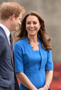 Pin for Later: 25 Times Kate Middleton and Prince Harry Got a Kick Out of Each Other  She looked happy to be hanging out with Prince Harry and Prince William when they visited the Tower of London in August 2014.