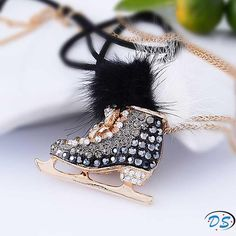 Pendants > Fashion winter ice skates crystal pendant necklace