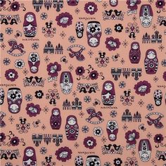 orange matryoshka dolls Kokka fabric Japan babushka 2