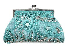 Moyna Swarovski Crystal Beaded #Turquoise Evening #Bag... gorgeous detailing!