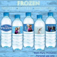 Frozen Water Bottle Wrappers by RIAsPartyPrintables, $5.00