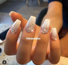 Beautiful Nails on Short and cute . The glitter is much more sparkle in real life! Hope you all have a lovely sunny Sunday Glitter Tip Nails, Gold Nails, White Acrylic Nails With Glitter, Silver Sparkle Nails, White And Silver Nails, Acrylic Nail Designs Glitter, Sparkle Acrylic Nails, Red Nails With Gold, Baby Blue Nails With Glitter