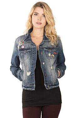 a0f57eaec91 WallFlower Juniors Patchwork Denim Jacket in Riley Size Medium at Amazon  Women s Coats Shop