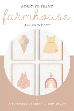 Set of four pretty prints - one yellow dress, one pink onesie, one ice cream cone and rainbow mobile. So pretty for a baby girl's nursery. Frame them together, or in pairs in different spaces. Break them up and use each in a different way. Sweet country-inspired baby girl fashion for your nursery, bathroom or bedroom! Four pretty baby girl-themed designs on a light pastel polka dot background. Look great together or layered on an art wall. Farmhouse Nursery Decor, Baby Nursery Decor, Girl Nursery, Nursery Ideas, Baby Room Neutral, Polka Dot Background, Vintage Nursery, Pretty Baby, Boho Baby