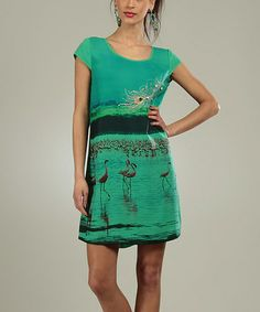 Look what I found on #zulily! Green Flamingo Pauline Scoop Neck Dress by For Her #zulilyfinds