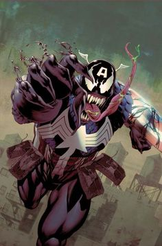 American Venom, a Mashup of Captain America and Venom altered from Original Artwork by Mike Perkins