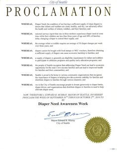 SEATTLE, WA - Mayoral proclamation recognizing Diaper Need Awareness Week (Sep. 26 - Oct. 2, 2016) #diaperneed diaperneed.org