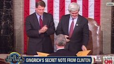 """Bill Clinton passed Newt Gingrich a secret note - """"During President Bill Clinton's State of the Union, he passed Speaker Newt Gingrich a secret note. You may be surprised to see what he said..."""""""