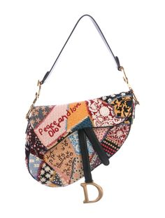 View this item and discover similar for sale at - authentic Christian Dior 'Peace And Love Saddle' medium bag in multicolor fabric embellished with beads and embroidery featuring slip pocket on the Christian Dior, Dior Saddle Bag, Saddle Bags, Dior Fashion, Fashion Bags, Fashion Dresses, Cute Bags, Mode Outfits, Luxury Bags