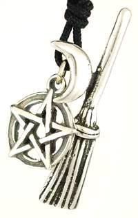 Witch's Broom Crescent Moon Amulet Pentacle Pentagram Necklace Pendant Charm Religious Wicca Wiccan Pagan Men's Women's Jewelry Five Pointed Star Wicca, Wiccan, Metaphysical. $18.99. Witch's Broom amulet