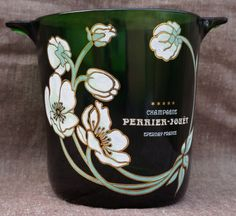 Vintage French Glass CHAMPAGNE Ice Bucket PERRIER JOUET Hand painted Flowers Enamelled Cooler FRANCE