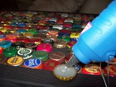 Windfarm: How to make a bottle cap table. been collecting for years - just need to find a table...
