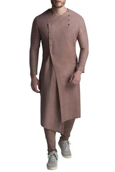 Mens Style Discover Buy Angarkha Solid Kurta With Pyjamas by Suta & Co - Men at Aza Fashions Buy Angarkha Solid Kurta With Pyjamas by Suta & Co - Men at Aza Fashions Nigerian Men Fashion, Indian Men Fashion, Mens Fashion Wear, Wedding Kurta For Men, Wedding Dresses Men Indian, Gents Kurta Design, Boys Kurta Design, Mens Indian Wear, Mens Ethnic Wear