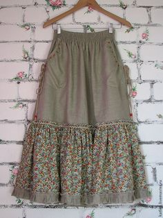 """Order Linen skirt """"In the meadow"""". Arts and crafts fair. Boho skirt, linen skirt sew einfach clothes crafts for beginners ideas projects room Girly Outfits, Skirt Outfits, Dress Skirt, Midi Skirt, Dress Shoes, Hijab Fashion, Boho Fashion, Fashion Dresses, Handmade Skirts"""