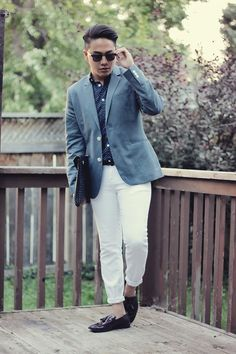 Opt for a blue sportcoat and white chinos for your nine-to-five. Dress up your getup with dark purple leather tassel loafers.  Shop this look for $210:  http://lookastic.com/men/looks/longsleeve-shirt-and-blazer-and-zip-pouch-and-chinos-and-tassel-loafers/3691  — Navy and White Polka Dot Longsleeve Shirt  — Blue Blazer  — Black Woven Leather Zip Pouch  — White Chinos  — Dark Purple Leather Tassel Loafers