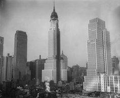 The New York skyline in Midtown is shown with its new addition of the Chrysler Building, center, with the Channin Building on the left and the New York Daily News Building at right, Nov. 20, 1929. (AP Photo)