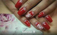 Red Lotus half nail French mani