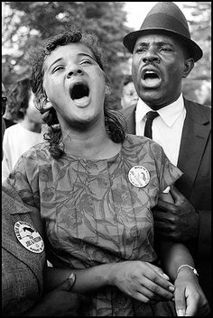 """Washington, D. August Demonstrators sing """"We Shall Overcome"""" after Martin Luther King's """"I Have a Dream"""" speech. By Leonard Freed. Black History Facts, Us History, History Photos, Ancient History, Martin Luther King, Leonard Freed, African American Culture, Native American, Civil Rights Movement"""