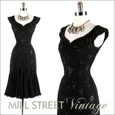 Vintage 1950s 50s Dress .... Black Rayon Crepe Sequins Mermaid Curvy Bombshell Wiggle Hourglass Cocktail Party Wedding XS S Designer $325.00 #vintage #clothing #dress #women #1950s #50s #bridal #mad_men #new_look #old_hollywood #cocktail #wedding #prom #black #wiggle #bombshell #rayon