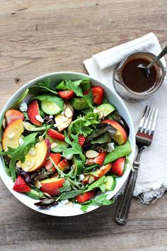 Try this fruity Strawberry Peach Salad for a fresh fast and healthy meal any…