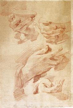 Gaetano Gandolfi, Four studies of hands holding a dish