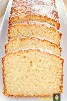 Moist Coconut Pound / Loaf Cake - Light, soft, and oh sooooo delicious! #coconut #loaf #pound #cake