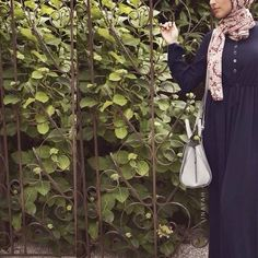 INAYAH | Navy Georgette Jumpsuit + Maroon Regal Print Hijab www.inayahcollection.com #inayah#inayahc#hijabfashion#islamicfashion#modeststreetfashion