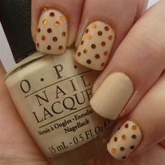 12 Thanksgiving Nail Art Ideas Cream And Glitter Dots Http Diyfashion