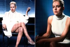"""Sharon Stone's white shift dress from """"Basic Instinct,"""" 1992 Modal Trigger The sleeveless, wool, roll-neck dress by Ellen Mirojnick is clearly an underwear-optional outfit. Stone was wearing it in the infamous interrogation scene when she slowly uncrossed her legs, giving the cops a lingering eyeful of exactly what was up that dress."""