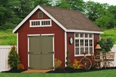 E50-6200 10x14 Premier Garden Shed Vinyl Paint: Red, Trim: White, Doors: Pequea Green, Roof: Weatheredwood - Options: Two Extra Transome Windows in Gable