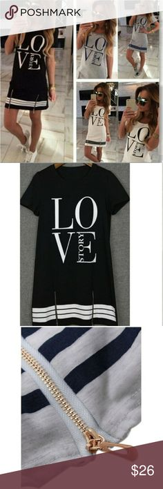 Love Story T-shirt Dress Sports style Love Story T-shirt Dress. White is minor see through. Recommend tank top or camisole underneath.  XL- Size 10 XXL- Size 12 XXXL- Size 14 Dresses Mini