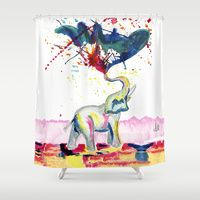 Shower Curtain featuring Elephant by Armyhu