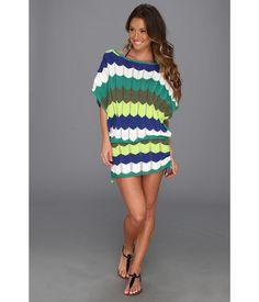 Trina Turk Zig Zag Crochet Tunic Green