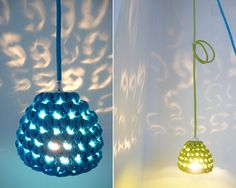 Pendant lamp with crocheted lampshade and textile cable - blue. Beautiful shadow cast by these
