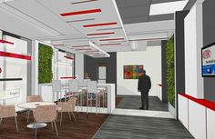 These living green walls were installed in a office communal break room
