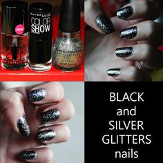 MichelaIsMyName: NOTD // BLACK and SILVER GLITTERS nails