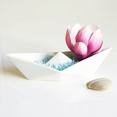 PORCELAIN origami BOAT by ALZBETA DESIGN Fresh, modern, elegant design of cute porcelain paper origami boat is ideal for decoration or for serving small nuts or candies. You can place some flowers in to the boat and place it on the table or on the shelf and it will definitely light up your room... It is a very nice present for birthday or wedding.