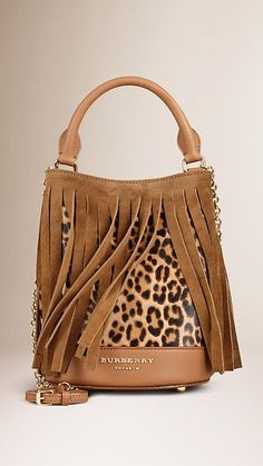 Camel The Small Bucket Bag in Animal Print Calfskin and Fringing - Image 1