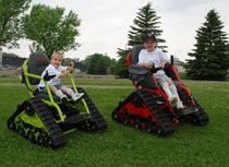 """""""We started developing this all terrain wheelchair in 2008, it is called the Action Trackchair. Tim and Donna have a son Jeff, who is in a chair, and know of many other friends that would love the freedom of hunting, hiking, going to the beach, fishing, and other similar activities.""""- FJM Mobility"""