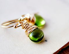 Lime Green Earrings Gemstone Jewelry Peridot by PoleStar on Etsy, $52.00