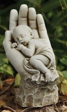 In The Palm of Gods Hand Memorial Baby Statue. Peaceful statue for garden or Grave. Miscarriage gift or gift for memorial of the loss of a baby. Made of resin