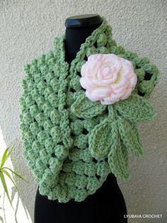 "Crochet Scarf Tutorial Pattern, PDF Green Chunky Infinity Crochet Scarf ""Chunky Popcorn Stitch"", Lyubava Crochet Pattern number 53"