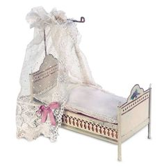 Antique German painted tin bed. Attributed to Marklin.
