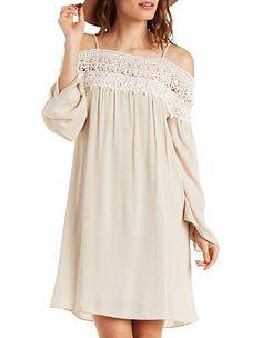 Crocheted Cold Shoulder Dress: Charlotte Russe