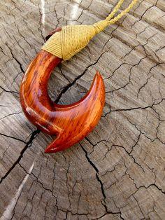 Hawaiian Koa Wood Fish Hook Carving Approximate Measurments- 1 5/8 x 3/8 x 2 1/2 (length x width x height)