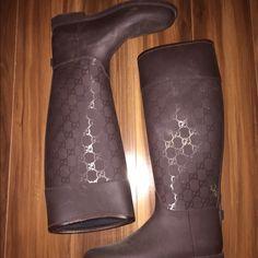 Brown Authentic Gucci Rainboots Gucci Rainboots Gucci Shoes Winter & Rain Boots