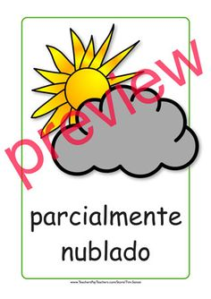 Spanish flash card for partly cloudy.